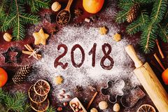 2018 Happy New Year Merry Christmas Decorations Background Royalty Free Stock Photo