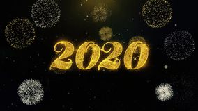 Happy new year 2020 written gold particles exploding fireworks display