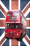 2015 happy new year written on a London red bus. Union jack background Stock Image