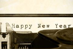Happy New Year written on an old typewriter Stock Photo