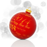 Happy new year 2014. Written on red Christmas ball Royalty Free Stock Photo