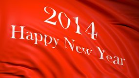 Happy new year 2014. Written on  red waving flag Stock Image