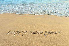 Happy new year in the sand Stock Image