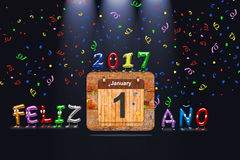 Happy New Year 2017 written in Spanish. Wooden calendar with first January of 2017 year and colorful text Happy Year written in Spanish. 3D rendering royalty free illustration