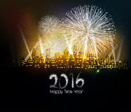 Happy new year 2016 written with Sparkle firework.  stock illustration