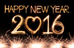 Happy new year 2016. Written with Sparkle firework Royalty Free Stock Image
