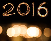 Happy new year 2016. Written with Sparkle firework Stock Image