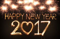 Happy new year 2017. Written with Sparkle firework Royalty Free Stock Photography