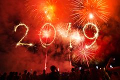 Happy new year 2019 written with Sparkle firework on black backg. 2019 Happy New Year written with Sparkle firework on black background royalty free stock photos