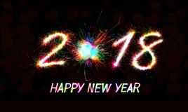 2018. Happy new year 2018 written with Sparkle firework and firework background Royalty Free Stock Photography