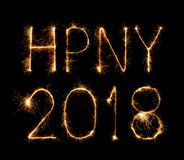 Happy new year 2018 written with Sparkle firework. At night Stock Photography