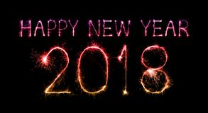 Happy new year 2018 written with Sparkle firework Stock Photo