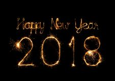 Happy new year 2018 written with Sparkle firework Royalty Free Stock Photography
