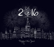 Happy new year 2016 written with Sparkle firework and led Royalty Free Stock Images