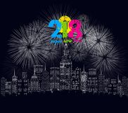Happy new year 2018 written with Sparkle firework and led.  royalty free illustration
