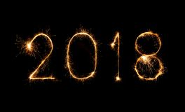 Happy new year 2018 written with Sparkle firework Stock Images