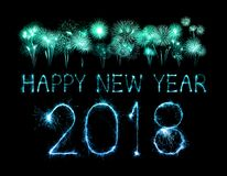 Happy new year 2018 written with Sparkle firework. At night Stock Image