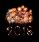 Happy new year 2018 with Sparkle firework at night Royalty Free Stock Photography