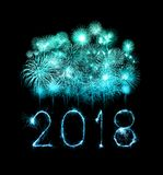 Happy new year 2018 with Sparkle firework at night Stock Photo