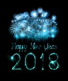 Happy new year 2018 written with Sparkle firework. At night Royalty Free Stock Images