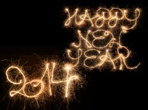Happy New Year. 2014 written with sparklers Stock Photography