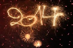 Happy New Year. 2014 written with sparklers Royalty Free Stock Photography
