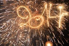 Happy New Year. 2014 written with sparklers Royalty Free Stock Photo
