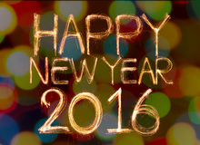 Happy new year 2016. Written with Sparkling figures. on bokeh background Stock Photo