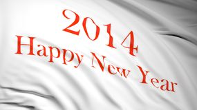 Happy new year 2014. Written on white waving flag with red letters Stock Image