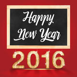 Happy new year 2016 writting on blackboard in red studio room Stock Photos