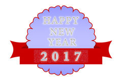 Happy New Year 2017. 'Happy New Year' label/snowflake on a white background Royalty Free Stock Photography