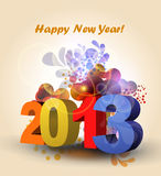 Happy New Year and xmas. Vector color Happy New Year and xmas greeting card Stock Image