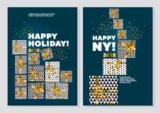 Happy new year and xmas concept poster template. gold and marine. Green collors christmas vector illustration. flayer, brochure, header with text, star, and Stock Photo