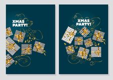 Happy new year and xmas concept poster template. Gold and marine green collors christmas vector illustration. flayer, brochure, header with text, star, and Royalty Free Illustration