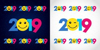 2019 A Happy New Year xmas greetings. Colored snowy winter background, emo smiling null, isolated 20, 19 and 0 bright numbers. Seasonal discount digits % Royalty Free Stock Images