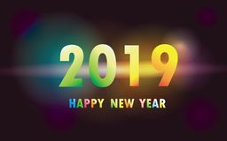 2019 Happy New Year xmas. Greetings. Dark background,isolated bright Colorful numbers, celebrating congratulating vector template vector illustration