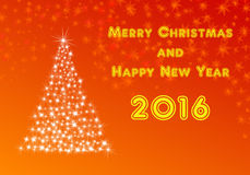 Happy new year 2016 with xmas tree. Happy new year 2016 and merry christmas illustration with xmas tree vector illustration