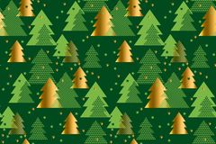 Happy new year and xmas tree seamless pattern Royalty Free Stock Image