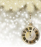 Happy New Year y Merry Christmas golden card Stock Photography
