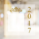 Happy New Year 2017 year on blur bokeh background with copy spac. Happy New Year 2017 year on abstract blur festive bokeh background with copy space for text Stock Photography