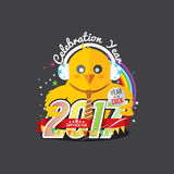 Happy New Year 2017 Year Of The Cock. Happy New Year 2017 Year Of The Cock Vector Illustration Royalty Free Stock Photos