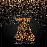Happy new year and year dog card with golden dog in doodle style abstract lines on black background design. royalty free illustration