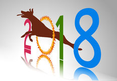 Happy  new year 2018 year of dog with Dog jumps through ring of fire Stock Image