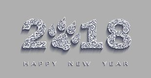 Happy new year 2018, the year of the dog.Vector white paper. Design elements for holiday cards. Happy new year 2018, the year of the dog.3d effect Vector white vector illustration