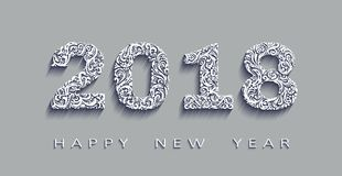Happy new year 2018, the year of the dog.Vector white paper. Happy new year 2018, the year of the dog.3d effect Vector white paper,origami design. Design royalty free illustration