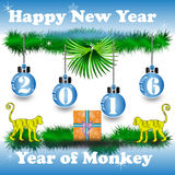 Happy New Year 2016 year of monkey on light blue background Royalty Free Stock Images