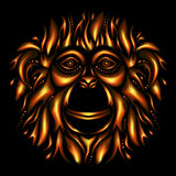 Happy new year 2016. Year Of The Monkey. Redhead Fire Monkey on black background royalty free illustration