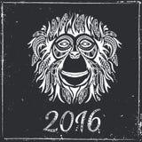 Happy new year 2016. Year Of The Monkey. Vector Illustration vector illustration