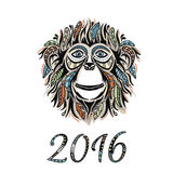 Happy new year 2016. Year Of The Monkey. Royalty Free Stock Images