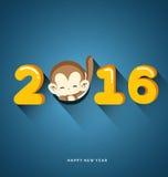 Happy New Year 2016 Year of Monkey. Vector Illustration Vector Illustration